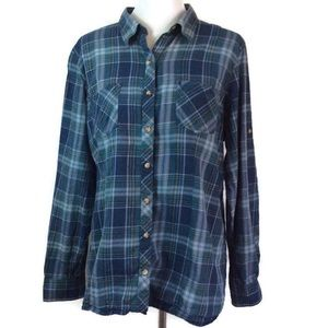 LL Bean Roll Tab Blue Plaid Button Front Shirt XL